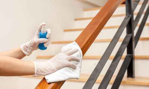 Sanitizing stairs hand railing